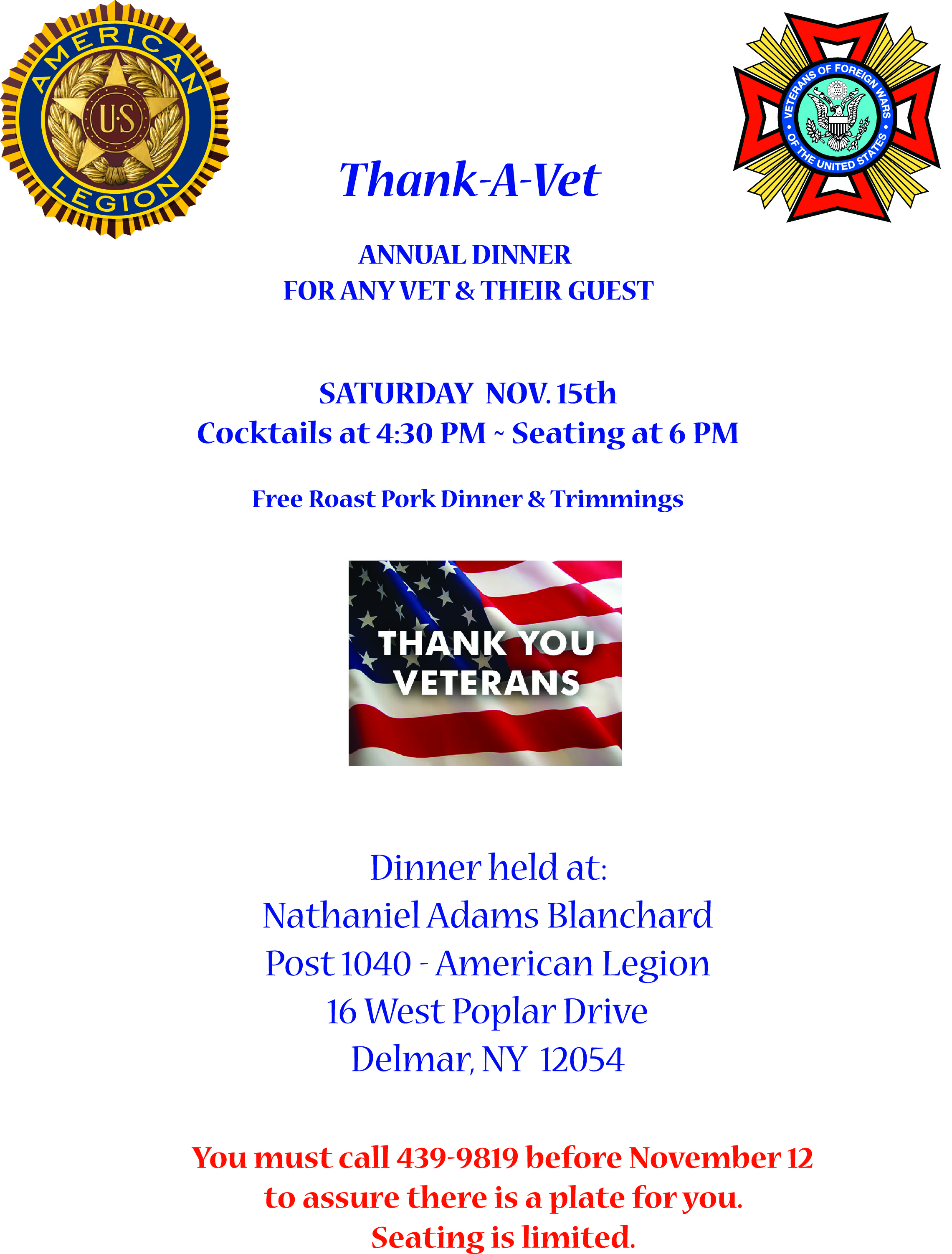 Thank a Vet Small Poster